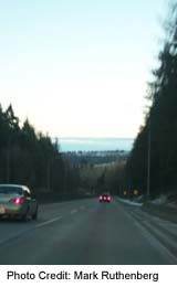 Highway 1 descent toward the Second Narrows, form North Vancouver