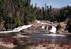 Chippewa Falls, near Batchwana Bay, roughtly the midpoint of the Trans-Canada