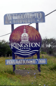 Kingston Ontario's welcome sign