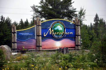Marathon welcome sign