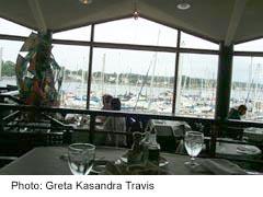 Oak Bay Marina Interior view of restaurant, with boats