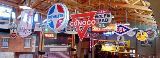 Old Gasoline Brands at Calgary's Heritage Park' Gasoline Alley exhibit