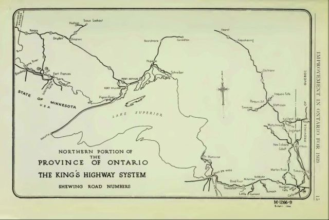 Trans-Canada Highway (Highway 11 route) Incomplete in 1939, North Of Superior Around Wawa