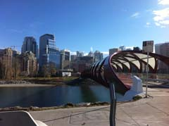 Calgary's Peace Bridge connects downtown with the Kensington shopping district