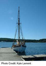 Tall boat in Penetanguishene Harbour