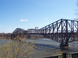 The historic Quebec City Bridge, over the St Lawrence
