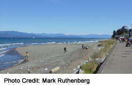 Beachfront View Southeast, toward Mount Garibaldi across the Straits