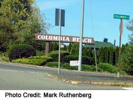 Columbia Beach sign, just north of town centre