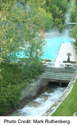 Radium Hot Springs, situated above the town