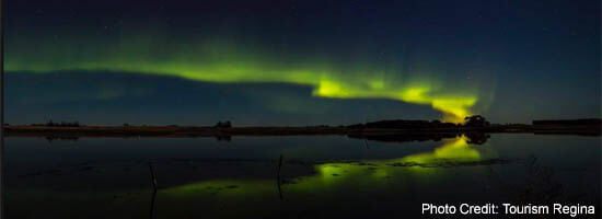Northern Lights over Regina's Wascana Lake