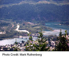 Revelstoke's Meadow To Mountain Road at the First Lookout-Town view with Bridges