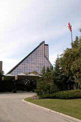 Flags in front of the Royal Canadian Mint