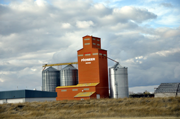 Grain elevators dot the landspace along the Trans-Canada through Saskatchewan