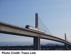 View of SkyTrain Canada Line crossing Over Bridge