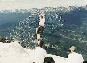 Snowboarding off The Whistlers in July