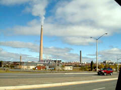 View of Superstack chimney at Barre Inco's Copper Cliff mine