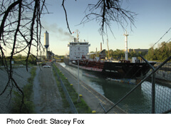 Great Lakes Freighter passing though the Welland Canal at Thorold