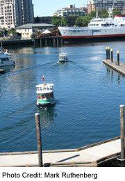 View of various Ferries in Victoria's Innner Harbour
