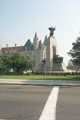 Ottawa's National War Memorial and the Chateau Laurier Hotel in downtown Ottawa