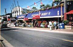 Stores along White Rock's beach