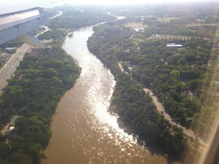 View of Assiniboine River on landing approach