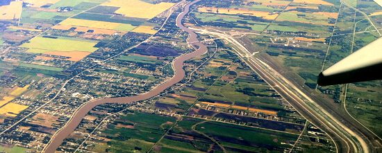 View of Red River (to left) and the Floodway (the the right)
