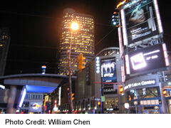 Yonge Street view of Eaton Centre Exterior By Night