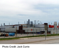The 401 passes byt the huge General Motors Plant at Oshawa