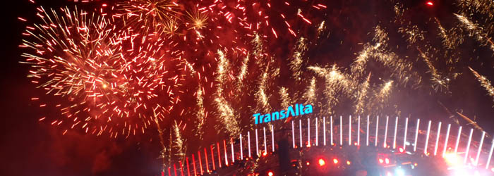 Stampede Fireworks Show, held nightly after the end of the Chuckwagon races and the Grandstand Show