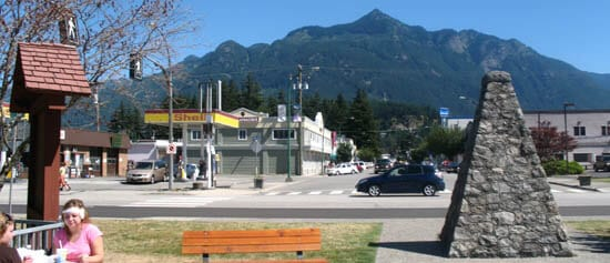 Town of Hope, with the Fraser River monument
