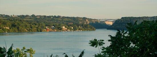 View To Niagara Escarpment And Queenston Lewiston Bridge
