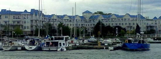 Cobourg harbourfront with condos