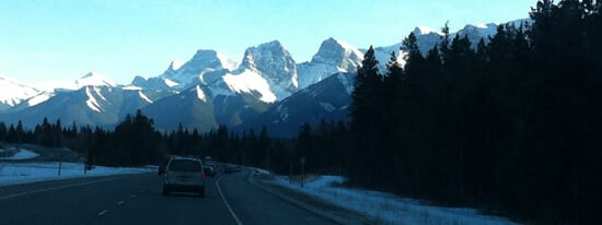 Trans-Canada Highway at Canmore, view east