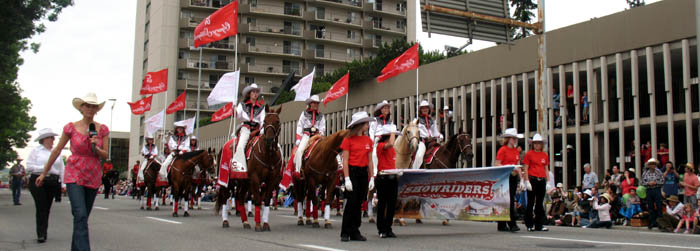 Stampede Parade, which opens the Calgary Stampede, featuring horses, horse-drawn carriages and marching bands