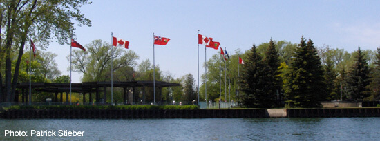 Centre Island Ferry dock with flags