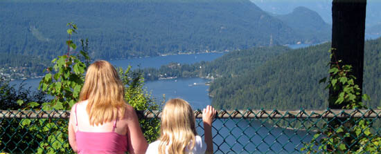View of Indian Arm from park atop Burnaby Mountain