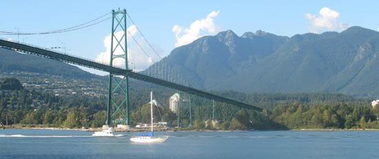 Vancouver Lions Gate Bridge over Burrard Inlet