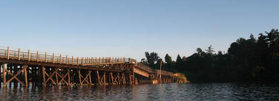 Esquimalt Gorge with Galloping Goose Trail bridge, near Victoria