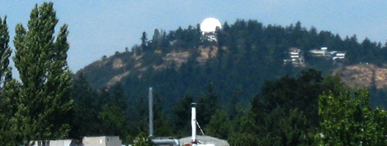Saanich-Patricia Bay Highway view of Dominion Observatory, near Victoria