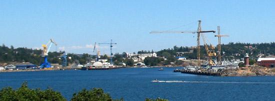 View Of CFB Esquimalt Naval Base, near Victoria