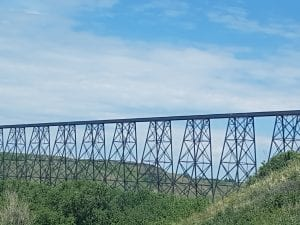 Lethbridge high level railway bridge over Oldman River