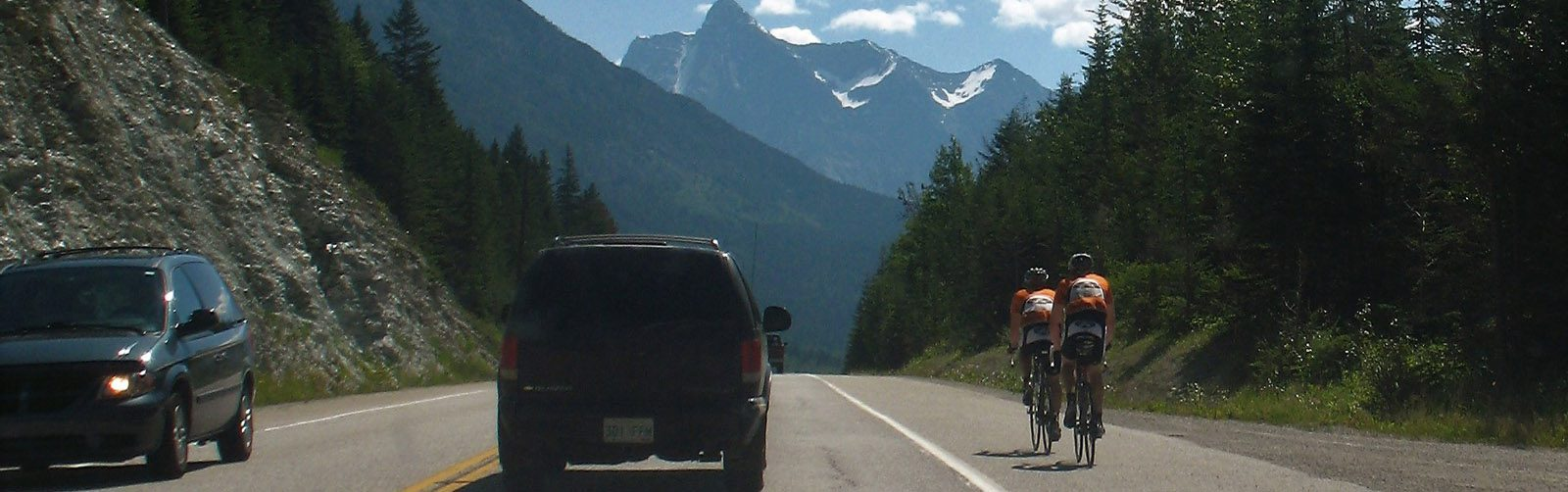 Cyclists - Golden - Kicking Horse Valley -sliver