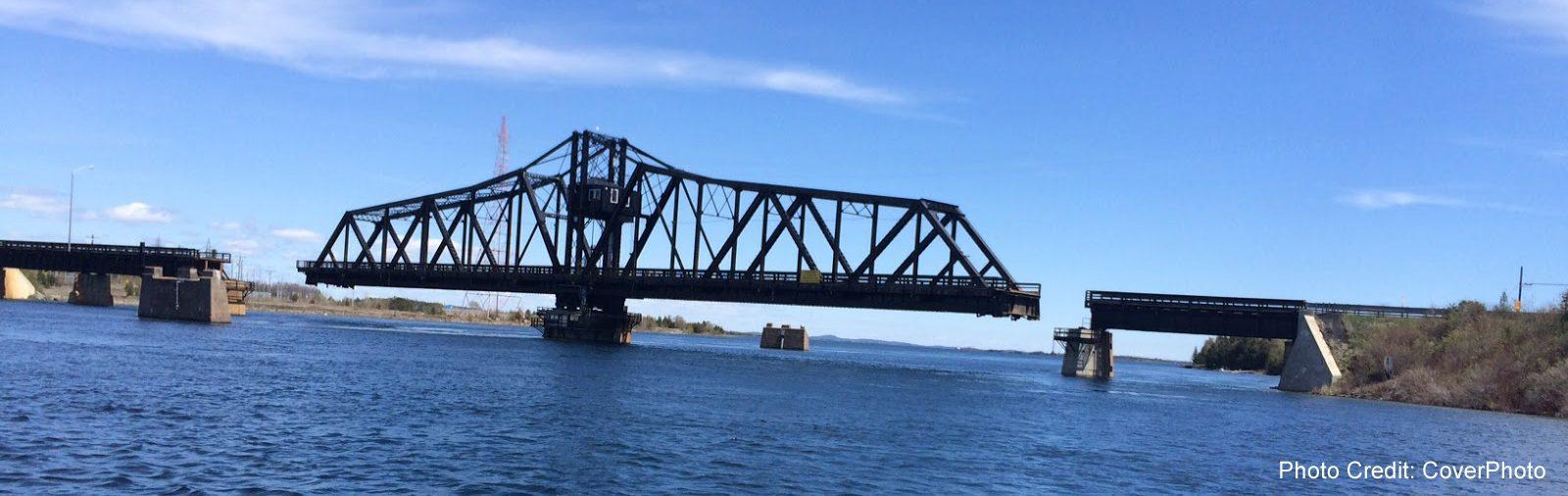 Little Current, Manitouline - Swing Bridge open- sliver (Cover Photo)