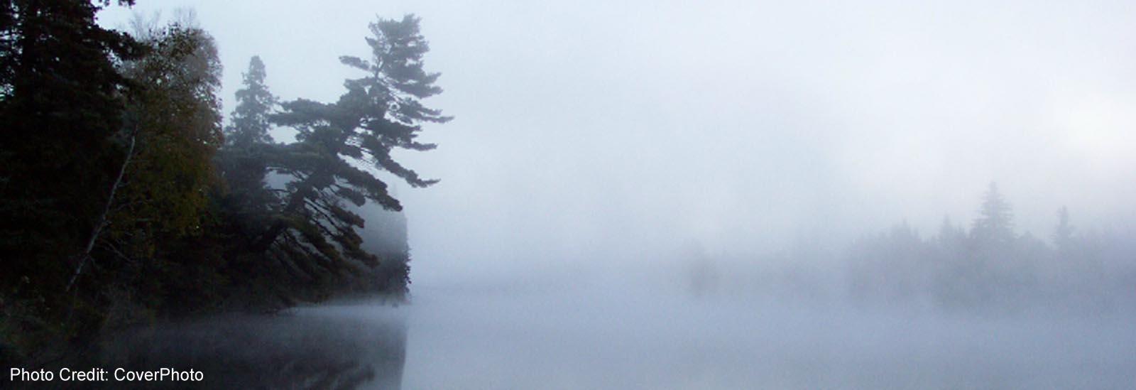 Spanish River - Naim Centre river view in fog-sliver (CoverPhoto)