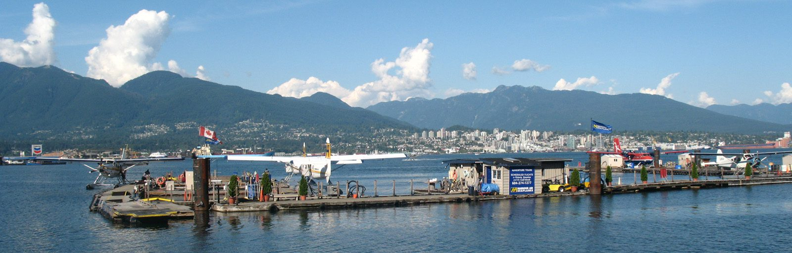 Vancouver - Floatplane docks and North Shore Mountains sliver