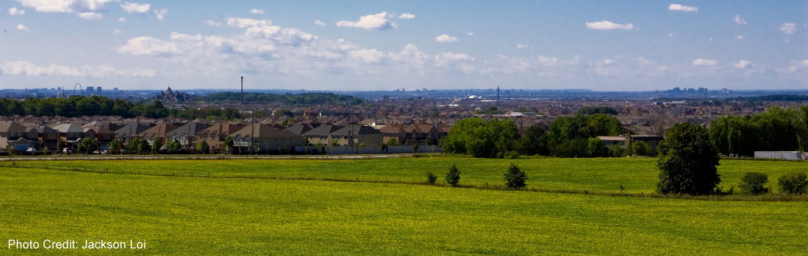 View of fields and homes in Vaughan,