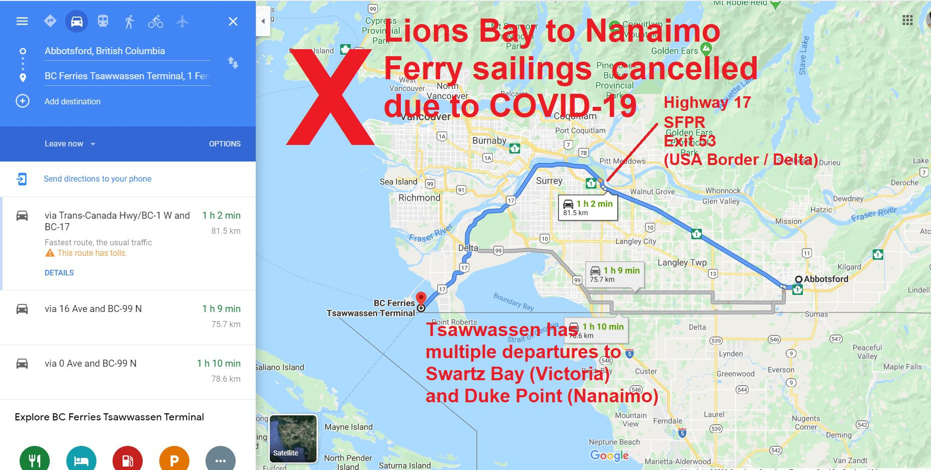 BC Ferries - Lions Bay-Nanaimo Sailings Cancelled