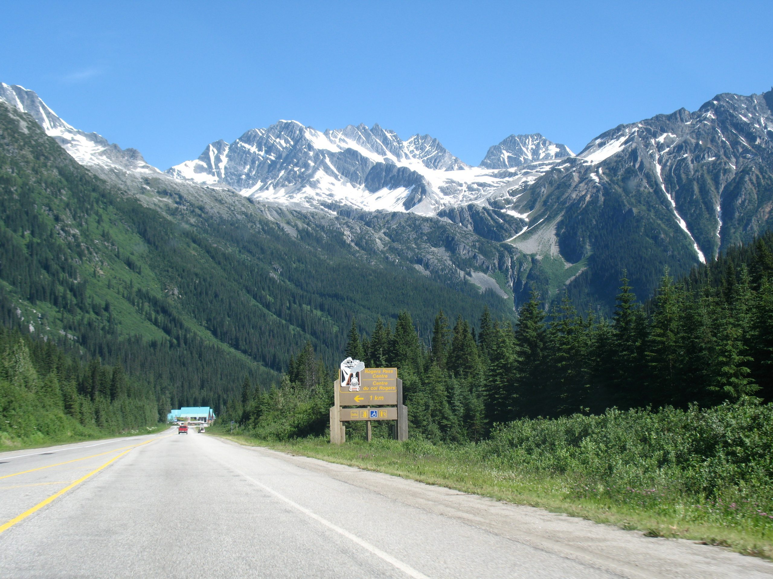 Rogers Pass-Summit Sign With Mountains
