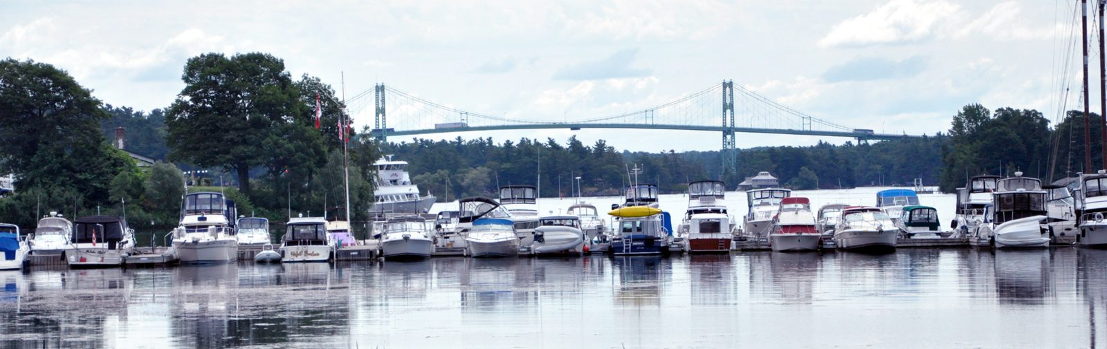 Thousand Islands Bridge with boats - sliver