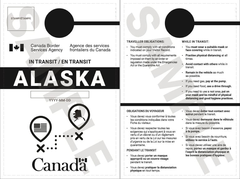 CBSA Alaska Transit Hang Tag